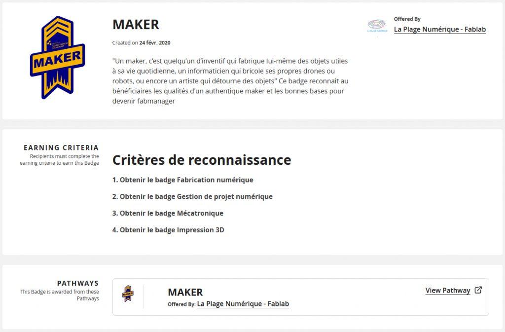Badge numérique fablab Maker digital credential